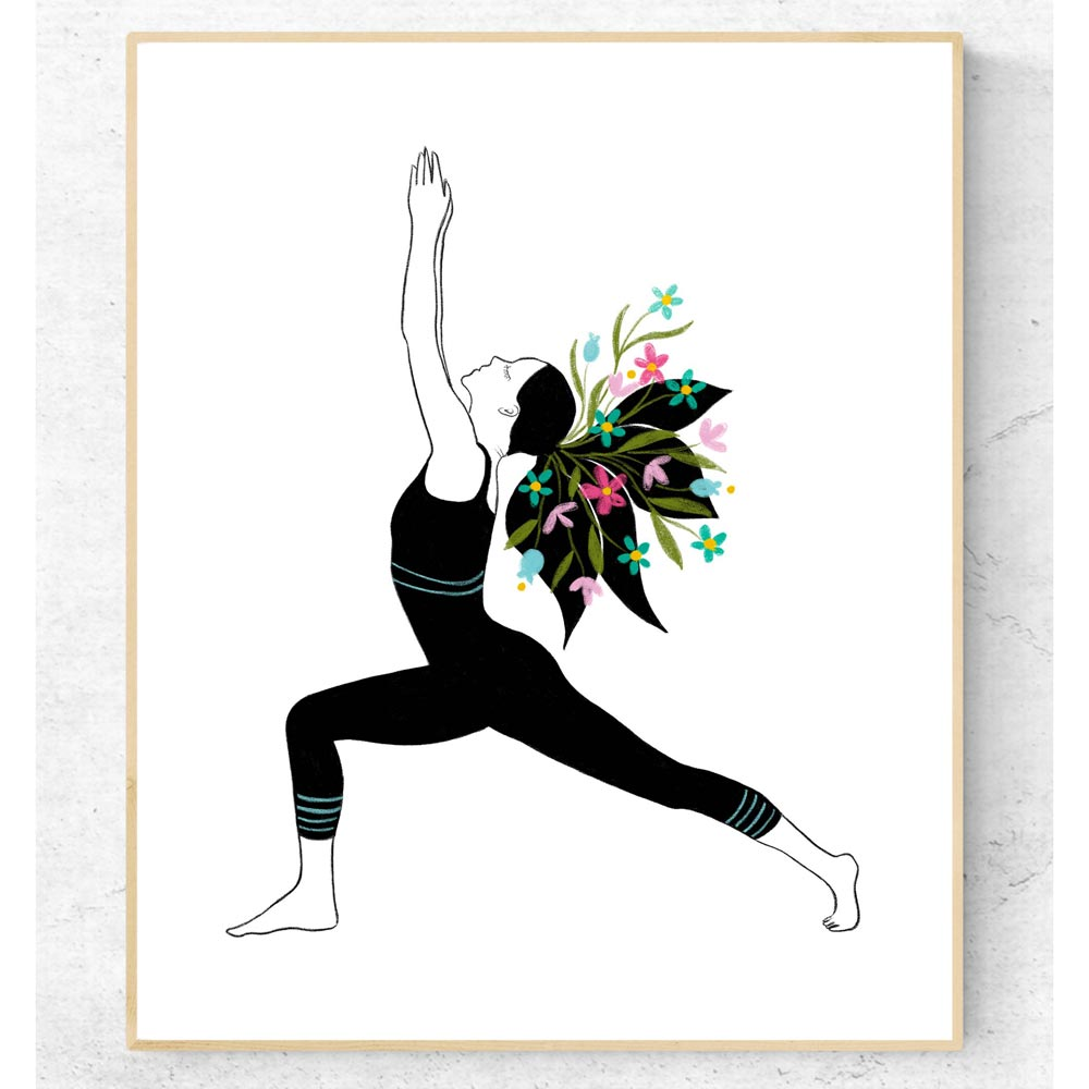Yoga poster wall art in frame
