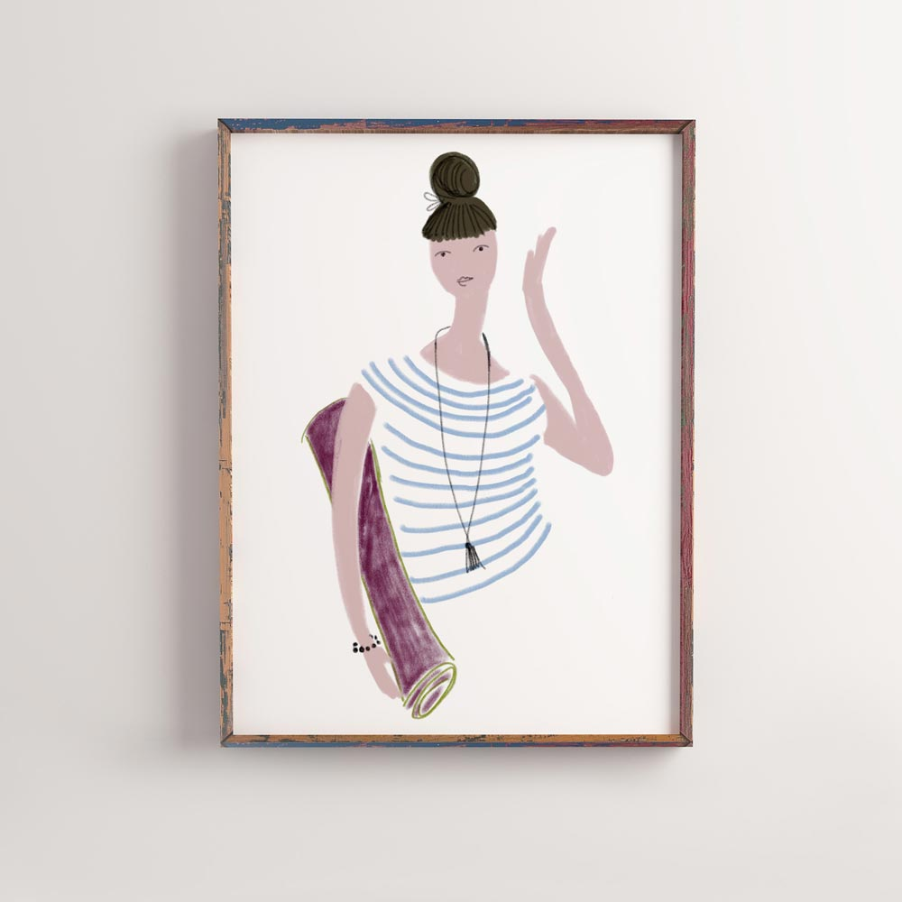 Yoga girl wall art in frame