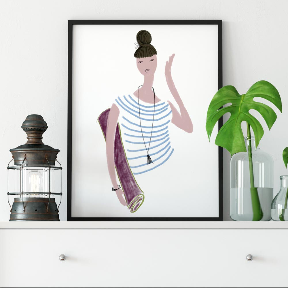 Yoga girl wall art decor