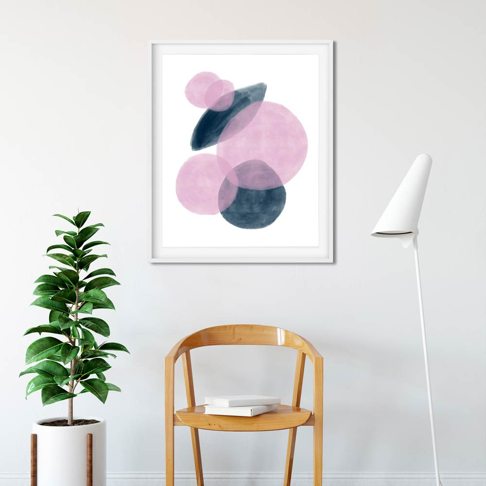 Abstract blue and pink wall art printable