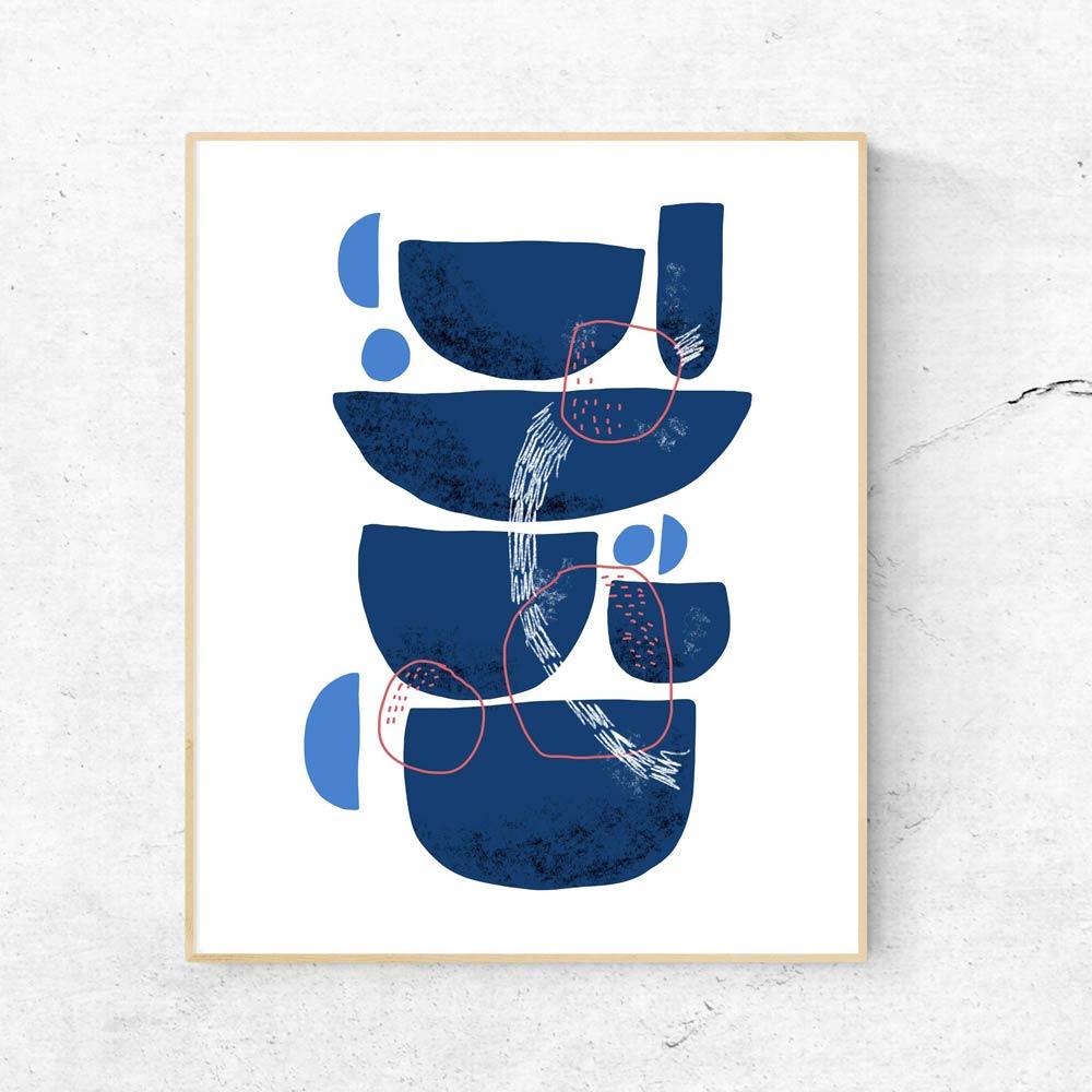 Blue Stones abstract wall art decor