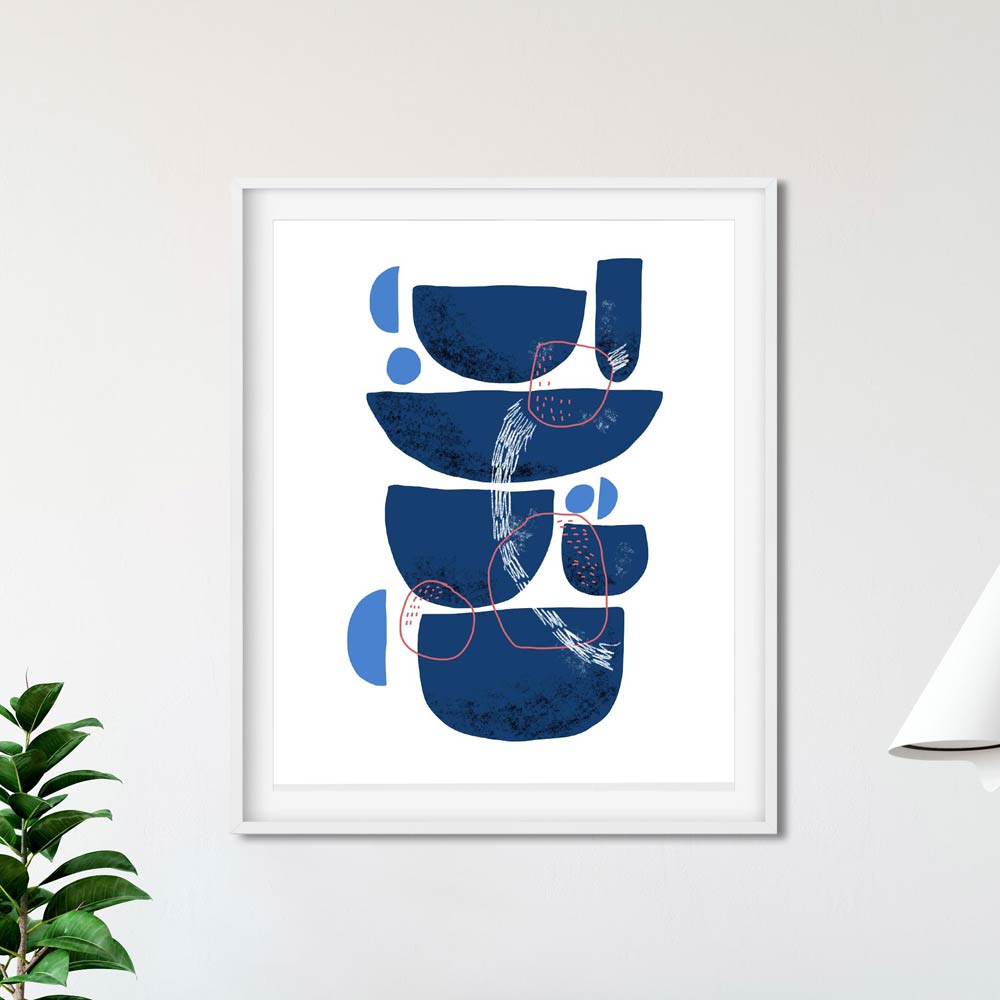 Blue Stones abstract art in frame