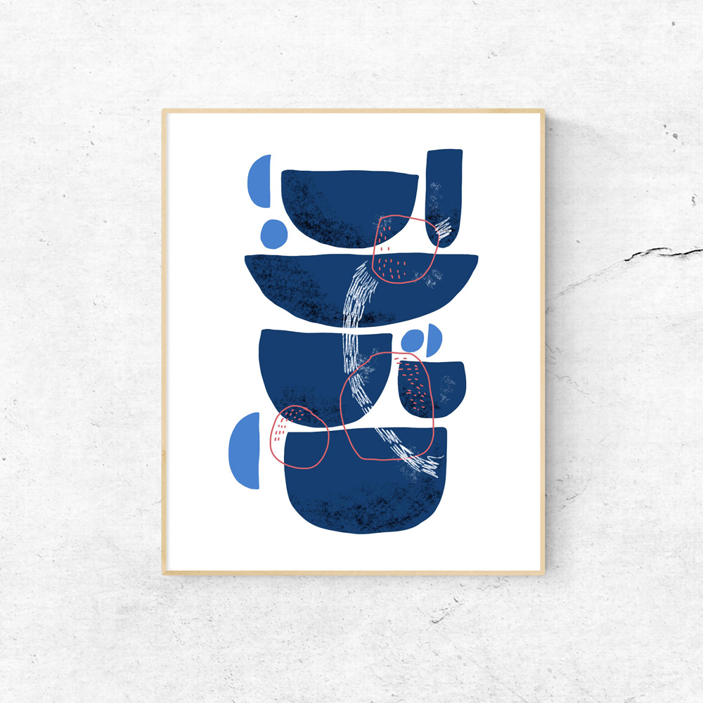 Blue Stones abstract printable art