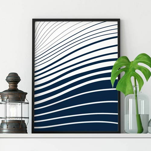 Blue and white waves art