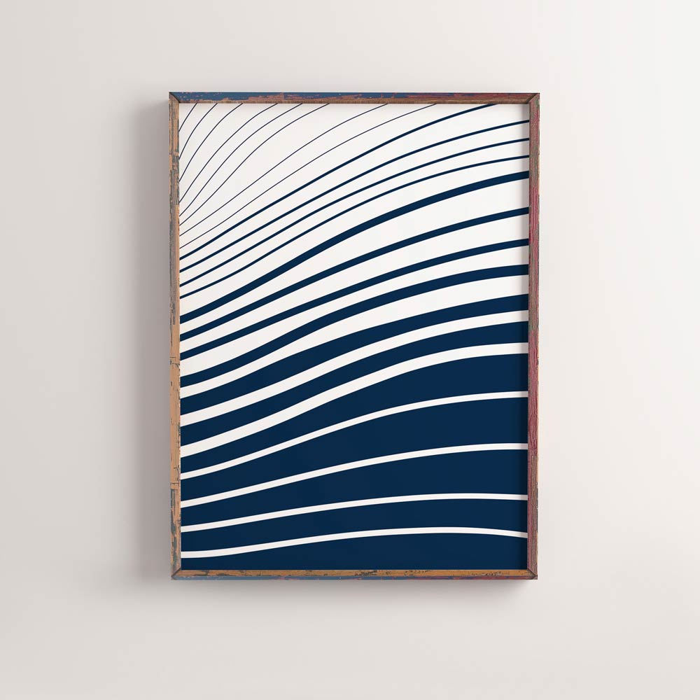 Blue and white waves poster