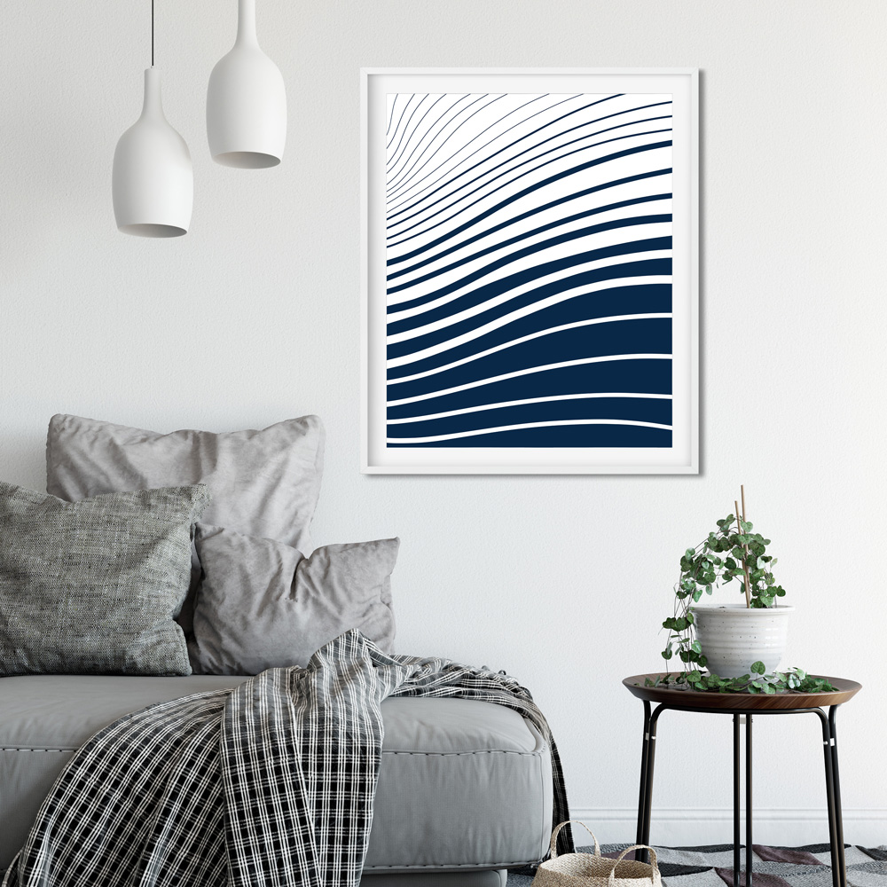 Blue and white waves printable art detail