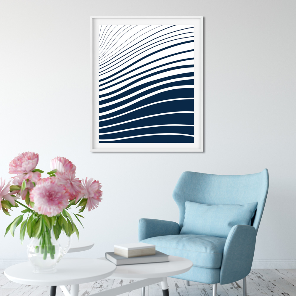 Blue and white waves art detail