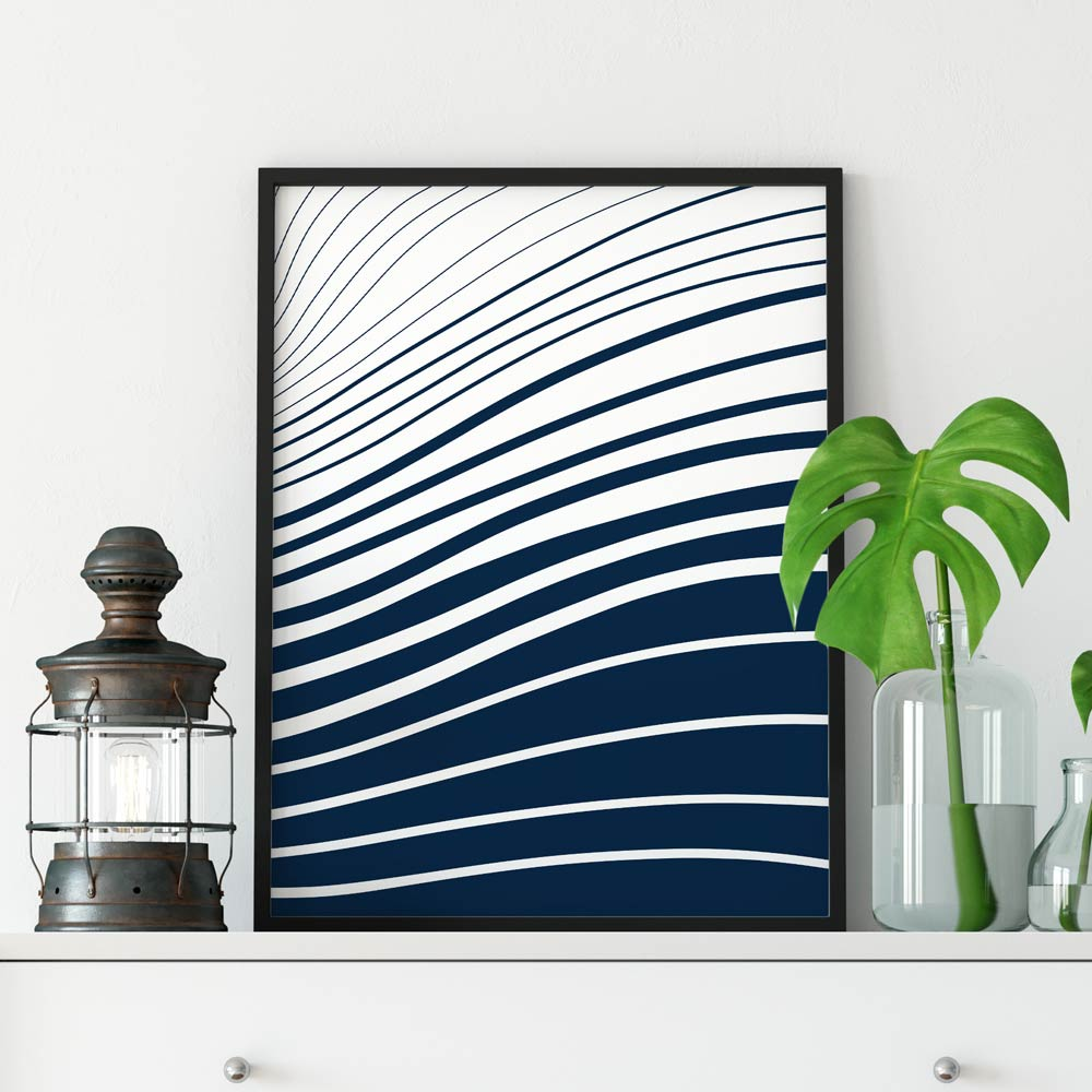 Blue and white waves wall art
