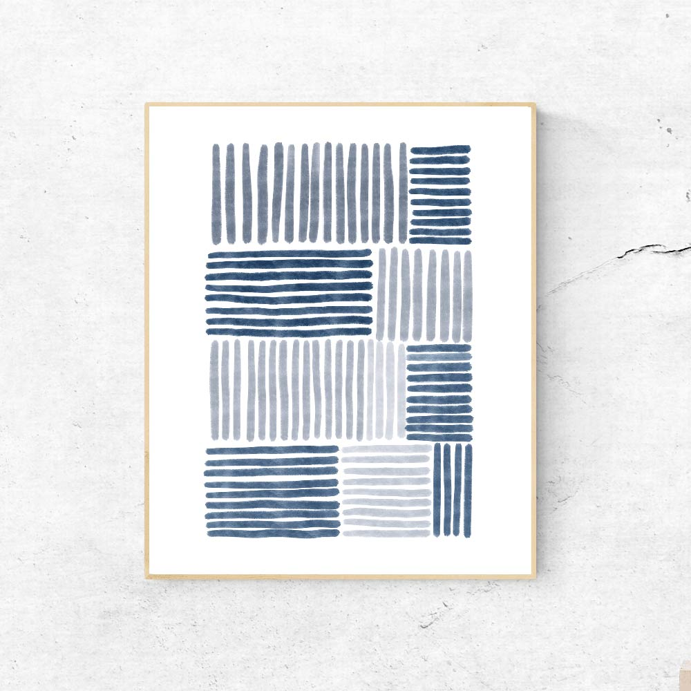 Blue stripes wall art decor