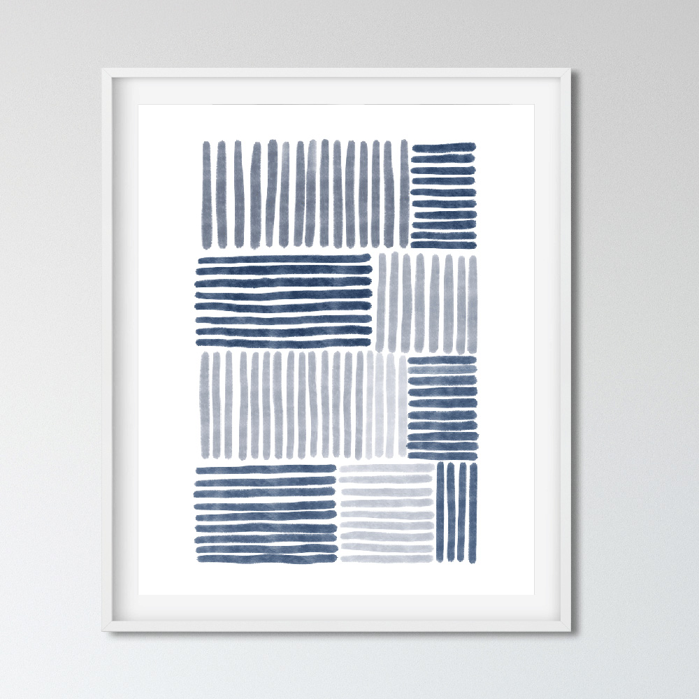 Blue stripes abstract wall art printable detail