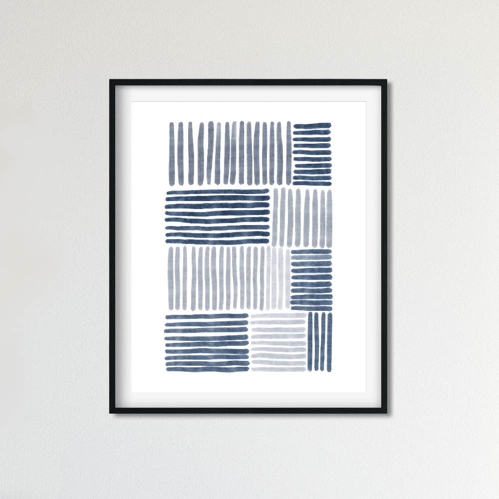 Blue stripes abstract wall art