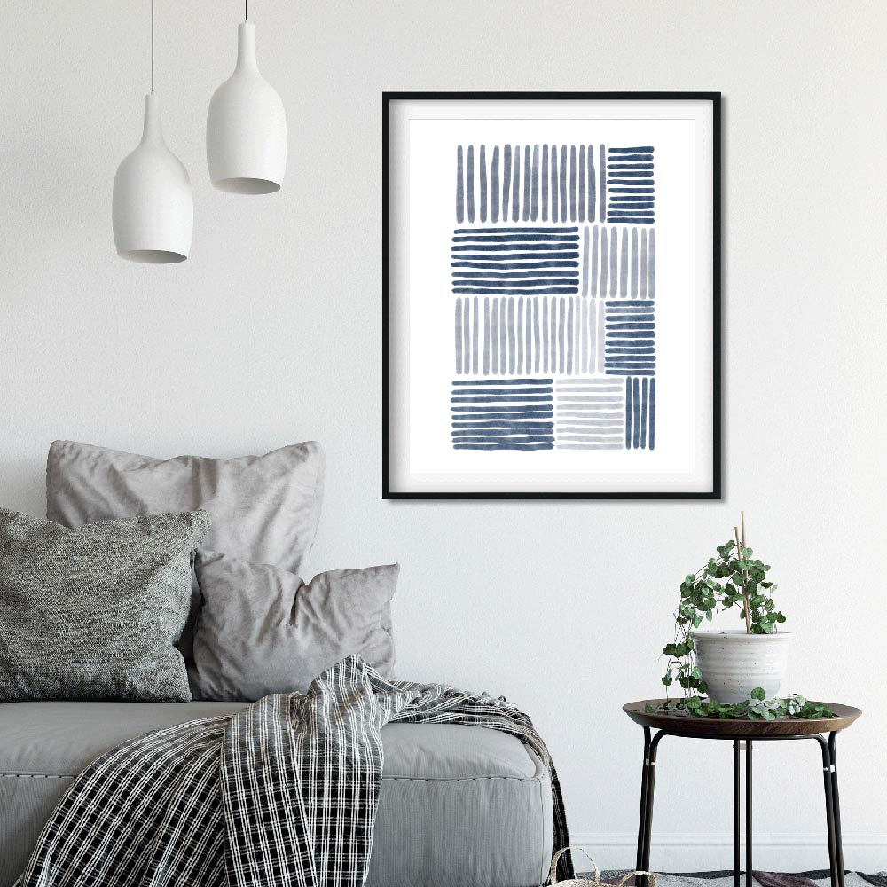 Blue stripes abstract printable art