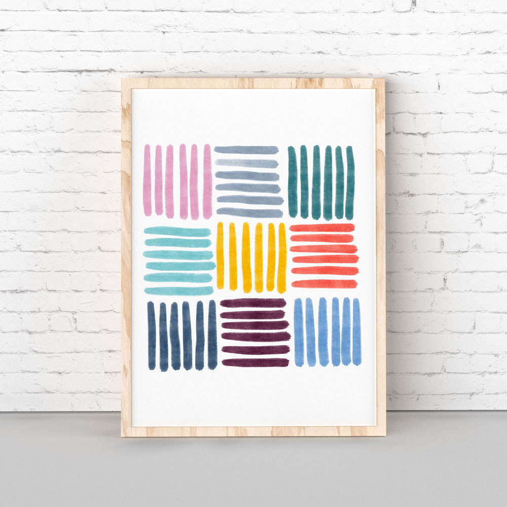 Colorful Stripes wall art decor