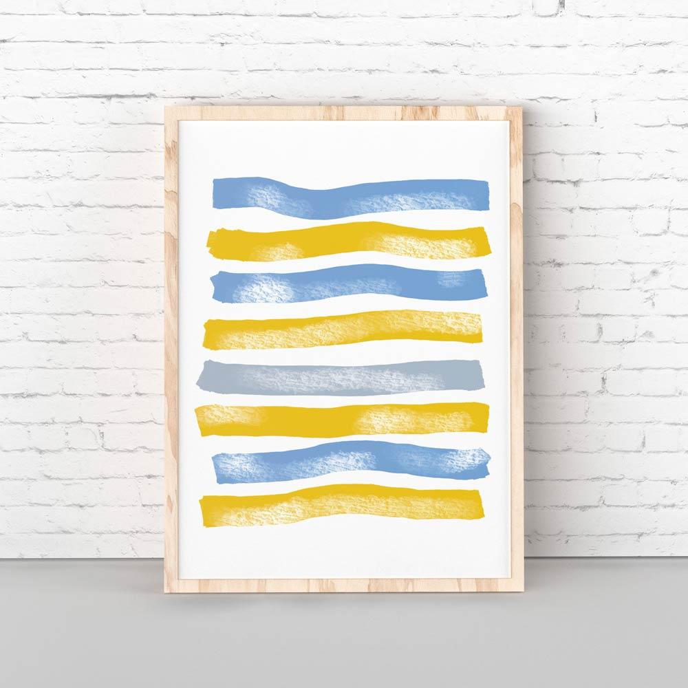Blue Yellow Stripes abstract art in frame