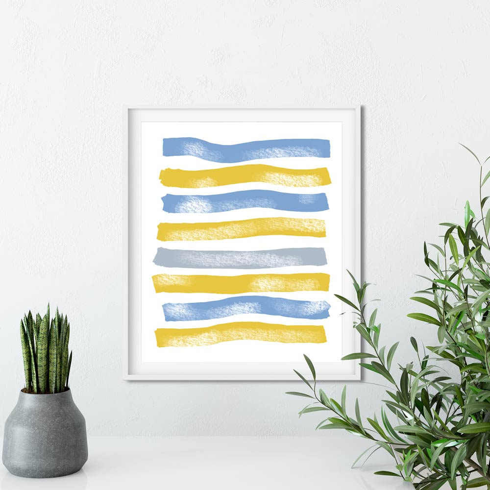 Blue Yellow Stripes abstract wall art