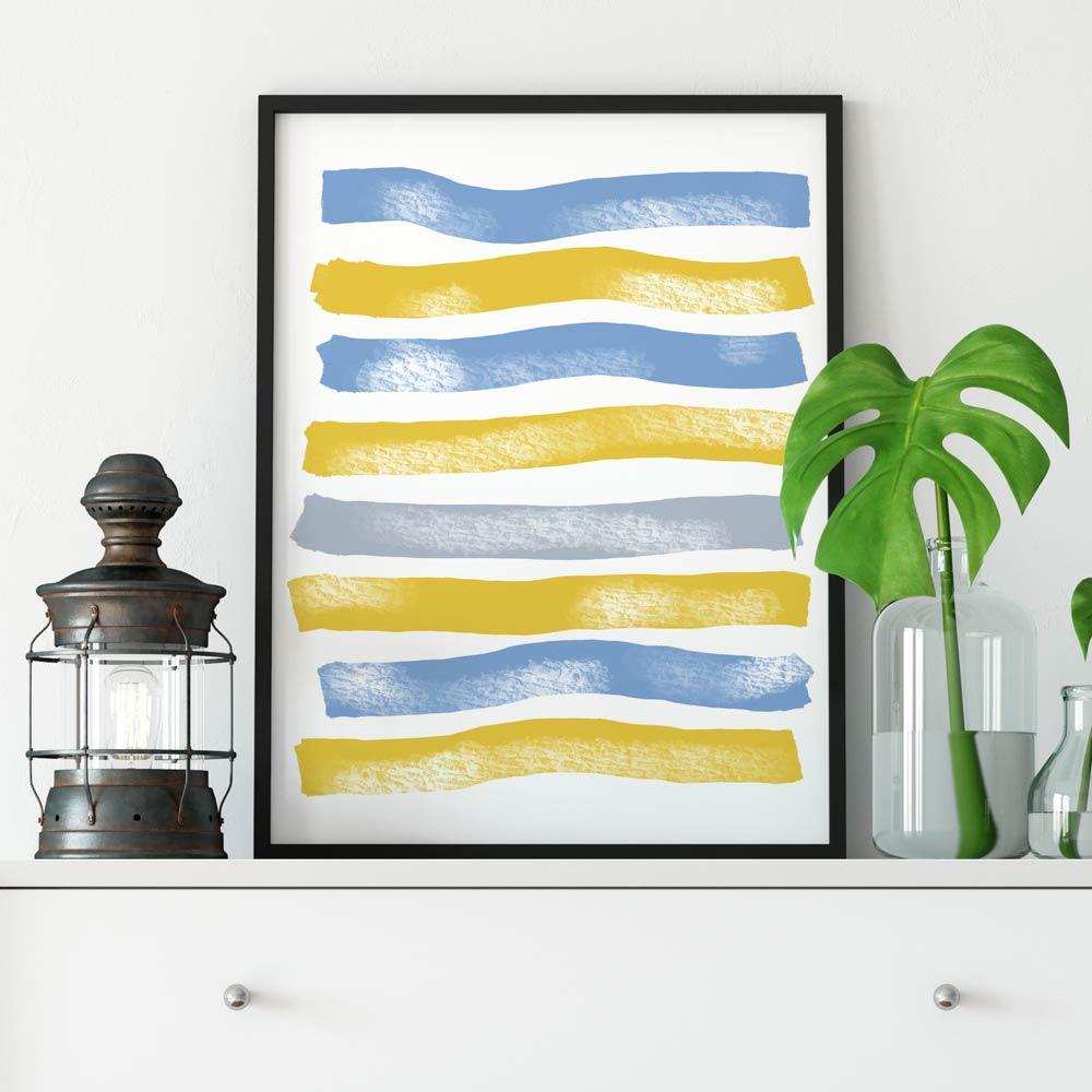 Blue Yellow Stripes printable art