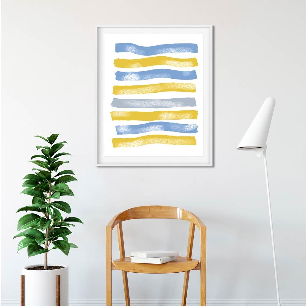 Blue Yellow Stripes wall art