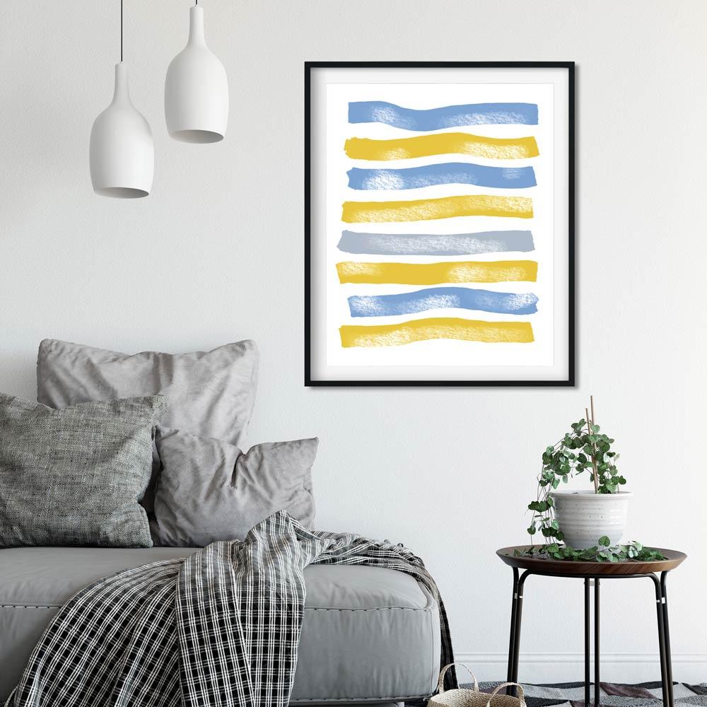 Blue Yellow Stripes art decor